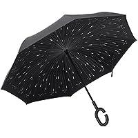 PLEMO–Funda doble capa paraguas invertido, resistente al viento Reverse paraguas para al aire libre protección UV o para uso de coche con mango plegable manos libres en forma