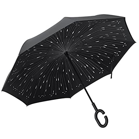 PLEMO Parapluie Canne, Parapluie Inversé, Double Couche Coupe-Vent, Mains Libres poignée en forme C, Idéal pour Voiture et Voyage, Noir Motif de Gouttes de Pluie