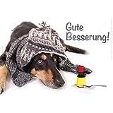 """'3pieza doble tarjeta con KUVERT Kranker perro con gorro, bufanda y medicinal Gute Besserung. """""""