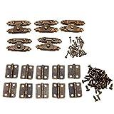 5pcs Gabinete antiguo bronce antiguo cierre de puerta con bisagras cierres decorativos 10pcs retro