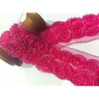Motivo floreale, tessuto da sposa in pizzo con fiori, Tulle,