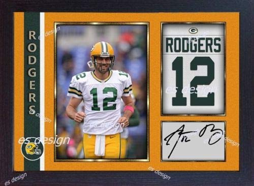SGH SERVICES Gerahmtes Autogramm von Aaron Rodgers Green Bay Packers NFL mit Autogramm, American Football NFL Autogramm, Foto-Druck, gerahmt