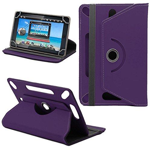 Gadget Giant Tesco Hudl 2 Neues Design Universelle um 360 Grad drehbare PU-Leder Designer bunte Hülle mit Standfunktion - Cover - Tasche - Lila/Plain Purple
