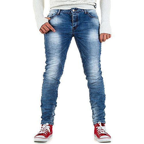 Used Look Slim Fit Jeans Für Herren bei Ital-Design Blau