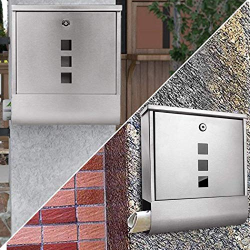Briefkasten Postkasten mit Zeitungsrolle und Sichtsfenster; Nameschild Abschließbar mit 2 Schlüssel (Silber) - 7