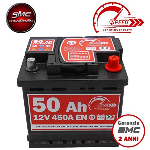 BATTERIA AUTO ORIGINALE SPEED BY SMC L150 12V 50AH 450A EN CON POLO POSITIVO A DESTRA