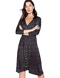 aa22eab0cc Principles Petite Womens Black Spot Print Midi Petite Wrap Dress