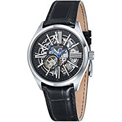 Thomas Earnshaw Men's Armagh Skeleton Automatic Watch with Black Dial Analogue Display and Black Leather Strap ES-8037-01