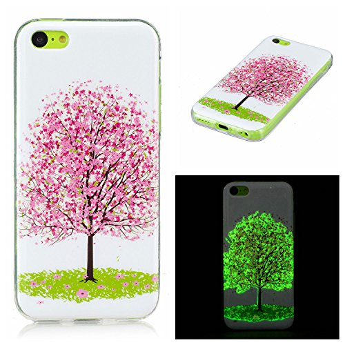 Coque iPhone 5C Fluorescente, LuckyW Housse Etui Night Lumious Nuit lumineuse TPU Silicone Clear Clair Transparente Gel Slim Case pour Apple iPhone 5C Soft de Protection Cas Bumper Cover Converture An Cerisier