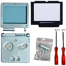 Timorn Écran complet de logement Shell Case Cover + Protector Partie + Tri-wing + Croix tournevis réparation pour Nintendo Gameboy Advance GBA (Light Blue Paquet)