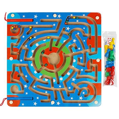 Andux Zone 2 in 1 Holz Magnetische Puzzle Labyrinth Ludo Magnetspiel Nutztiere Anzahl Labyrinth Fliegen Schach für Kinder CXMG-01 (Sterne) Brettspiel, Das Magische Labyrinth