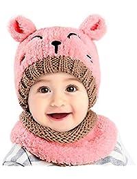 UKLink Bonnet et écharpe d hiver pour Tout-Petits Bonnets d hiver Chauds  avec Cache-Oreilles pour bébés de 1 à 3… 7f96a57955b
