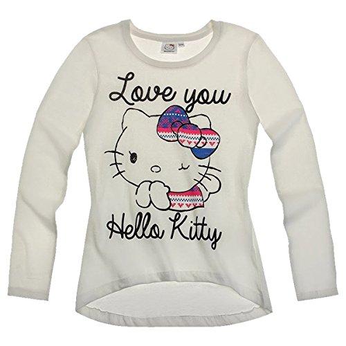 Hello Kitty Langarmshirt Sweatshirt für Mädchen 3 Motive blau, pink und weiß, Farbe:weiß;Größe:128 (Hello Sweatshirt Mädchen Kitty Für)