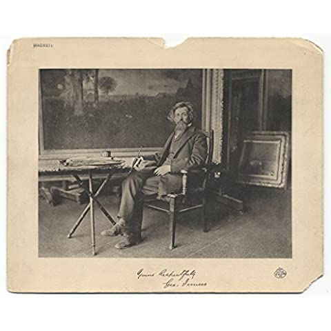 POSTER George Inness seated studio Inness painter seated studio a brush hand hat lap Several versions image included different sizes mounts Inscription lower right Yours Respectfully Geo Inness Annotation verso handwritten If you have Fifty Eight Paintings George Inness* you may be able to identify painting easel *by Eliott Dangerfield published F F Sherman er E S Bennett Medium Black white ic print