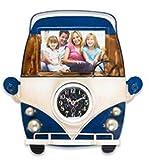 Wanduhr als Bus Vorderseite 30 cm Metall mit Bilderrahmen Nostalgie Uhr Rahmen Bus Oldtimer (blau)