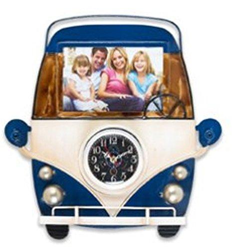 Wanduhr als Bus Vorderseite 30 cm Metall mit Bilderrahmen Nostalgie Uhr Rahmen Bus Oldtimer (blau) Vw Bus Uhr