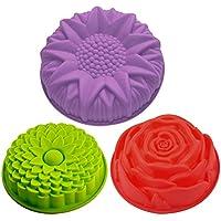 Juego de 3 moldes de silicona para tartas, diseño de flores, redondos, grandes, antiadherentes, para fiestas de cumpleaños, color amarillo, rojo y morado, SENHAI