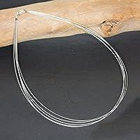 Biegsamer Hals-Reif aus 925 Sterling Silber und echt versilberter Stahlseide - fünfreihig - jede Länge erhältlich