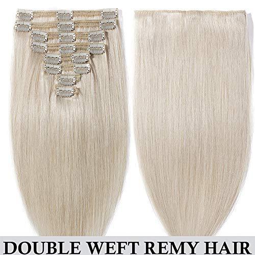 Clip in extensions echthaar Doppelt Tressen 100% Remy Echthaar 8 teiliges set Haarverlängerung dick (40cm-130g,#70 Weiß bleichen)