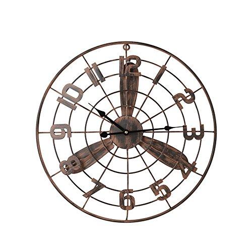 OLDJTK Reloj de Pared Vintage, Ventilador Retro, Reloj de Viento Industrial, silencioso, sin marcar...