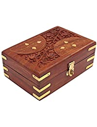 Handmade Wooden Jewellery Box For Women Jewel Organizer Carving & Brass Inlaid - D-Design 6 Inches