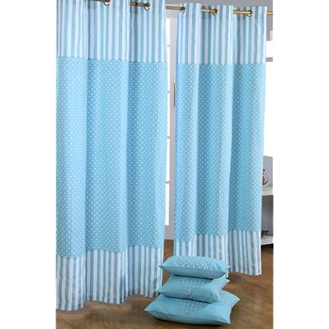 Homescapes Par de Cortinas de algodón con ojales, diseño de Puntos Blancos y rayas sobre Azul 137 x 182 cm
