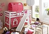 Spielbett mit Podest und Rutsche Tino, Buche weiß, 90 x 200 cm, rosa-weiß
