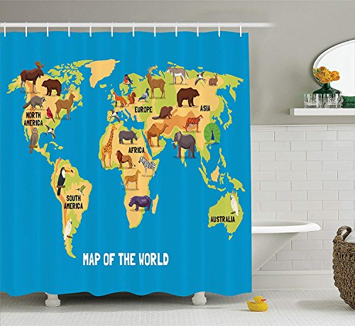 JIEKEIO Wanderlust Decor Shower Curtain Set, Flat Map of World Artwork with Animals Living in Different Parts of Continents, Bathroom Accessories, 60 * 72inch Extralong -