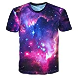 T-Shirts,Honestyi 2018 Kreativ Entwurf Herren 3D-Druck Weltraum Sternenhimmel Oberteil Cool und Stylisch mit O-Ausschnitt Sommer Kurzarm Beiläufig T-Shirts Spitzen-Sweatshirt M-XXXL (M, Schwarz)