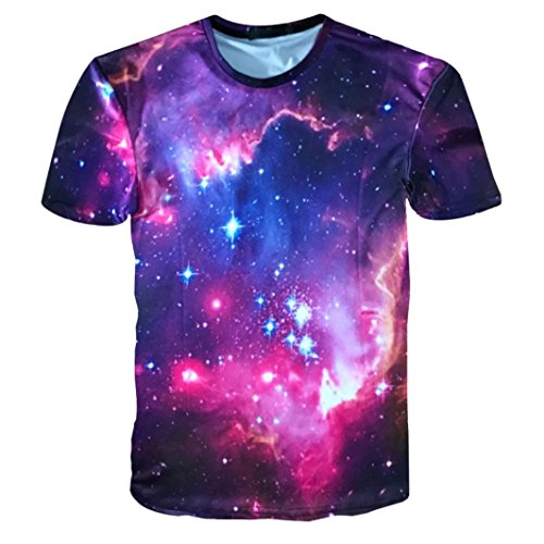 T-Shirts,Honestyi 2018 Kreativ Entwurf Herren 3D-Druck Weltraum Sternenhimmel Oberteil Cool und Stylisch mit O-Ausschnitt Sommer Kurzarm Beiläufig T-Shirts Spitzen-Sweatshirt M-XXXL (L, Schwarz)