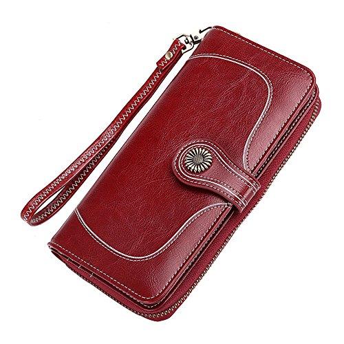 Chendaorong-bag Damen Clutch Geldbörse Geldbörse mit Reißverschlusstasche und Handgelenkriemen Lady Long Leather Wallet Für jeden Anlass (Color : Claret) (Satin-long Wallet)
