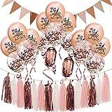 BESTOYARD Fiestas de Año Decoraciones para Fiestas Fiestas Confetti Globos de látex Banner Borlas Guirnaldas Artículos para Fiestas de Nochevieja (Oro Rosa)