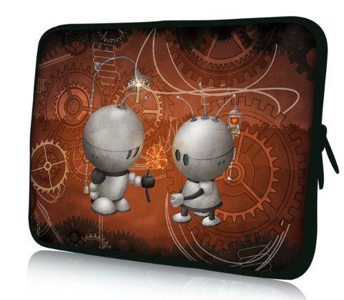 Luxburg® Design Laptoptasche Notebooktasche Sleeve für 17,3 Zoll, Motiv: Strümpfe Roboter Liebe