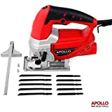 Apollo Heavy Duty 600W Power Jigsaw with Quick Blade-Change Mechanism, Adjustable Speed Thumbwheel, Large Trigger Switch with Lock-On For Continuous Use, Splinter Safety Guard, Dust Extraction Port & 10 Piece Mixed Blade Set for Metal & Wood