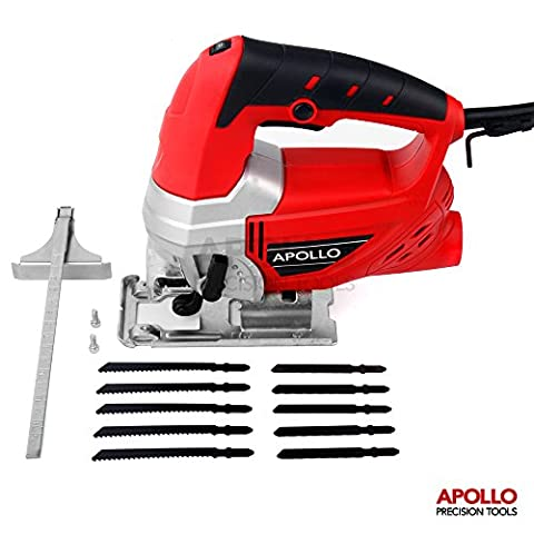 Apollo Heavy Duty 600W Power Jigsaw with Quick Blade-Change Mechanism, Adjustable Speed Thumbwheel, Large Trigger Switch with Lock-On For Continuous Use, Splinter Safety Guard, Dust Extraction Port & 10pc Mixed Blade Set for Metal &
