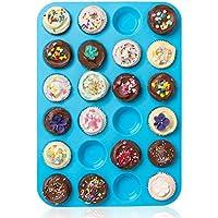 Casa Bonita Large Mini Muffin Pans–24tazze Jumbo in silicone stampo/teglia–antiaderente teglia per muffin, torte e cupcake–latta resistente al calore fino a 450F- Microonde e lavastoviglie 34 x 24 x 2cm Blue