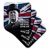 3drose Winston churchill- Never Give Up Angebot über Union Jack Hintergrund–Keramik Fliesen Untersetzer, Set von 4(CST _ 220216_ 3)
