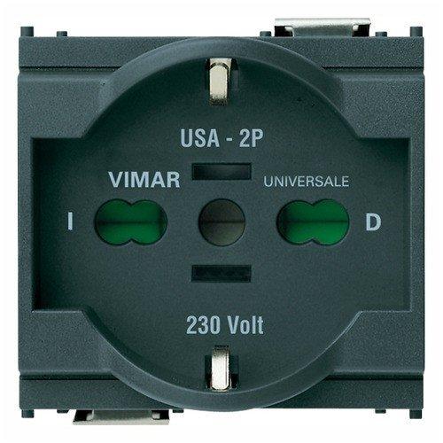 Vimar 16210 Presa Universale 2 Poli e Terra 16A, Grigio