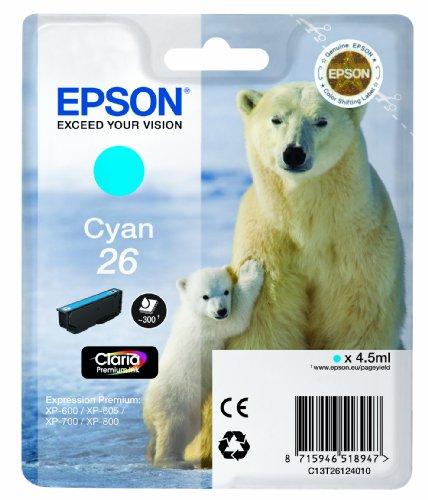 Epson T2612 Cartouche d'encre d'origine 300 pages 4,5 ml Cyan