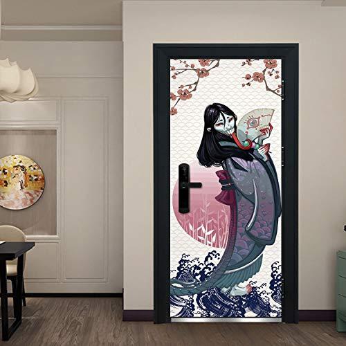 xmydeshoop Japanische Lange Zunge Teufel Hause Tür Aufkleber DIY Halloween Dekorationen Aufkleber Aufkleber PVC Holztür Wandbild Tür Wandbild 90X200 cm