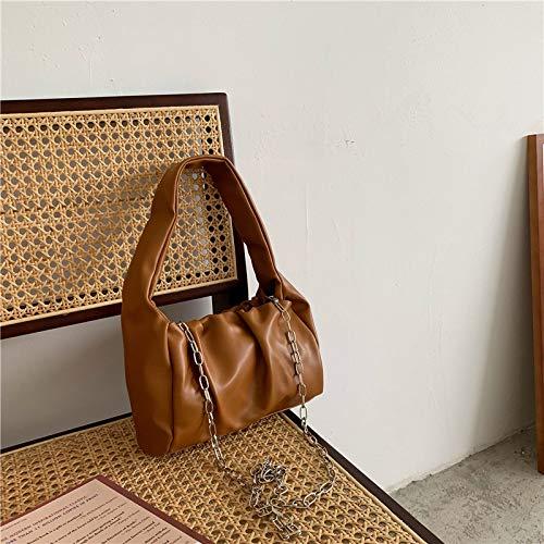 DamentaschenDamentasche Eimer Schulter Diagonale Kette Tasche unter der Tasche Plissee Design weiche Lederhandtasche, braun -