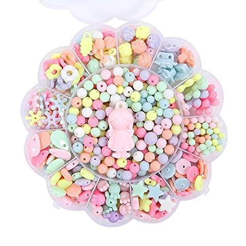 CHIC-CHIC- Kit De Loisirs Créatifs - L'atelier De Bijoux Fabrication de Bracelet Collier DIY Enfant Fille Cadezu Anniversaire Perles Fleur Animal (B) (flower)