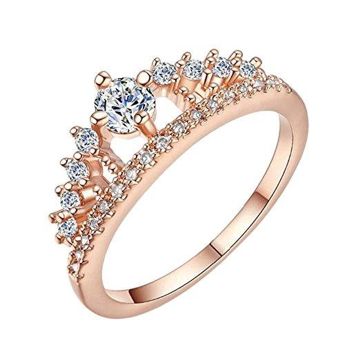 Doitsa Band Ring Zirkonia Silber Krone Ring für Ewigkeit Frauen Damen Mädchen Rose Gold S