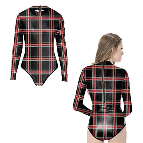 äDel-Knochen-Badebekleidung-Einteiliger Badeanzug-Lange HüLsen-Punk-Skelett-KostüMe Beachwear Y02029 One Size ()