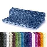 Spirella Badteppich Badematte Duschvorleger Mikrofaser Hochflor | flauschig | rutschhemmend | geeignet für Fußbodenheizung | 80x150 cm | Himmelblau