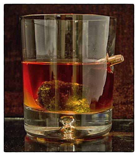 (Einzigartiges Geschenk .Tumbler.Whiskyglas mit realem Projektil Cal.308 Glas mit Kugel)