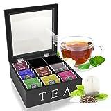 Oramics Teebox mit 6 oder 9 Fächern in Weiß oder Schwarz im edlen Holzdesign Teekiste Tee Aufbewahrung (Schwarz, 9 Fächer)