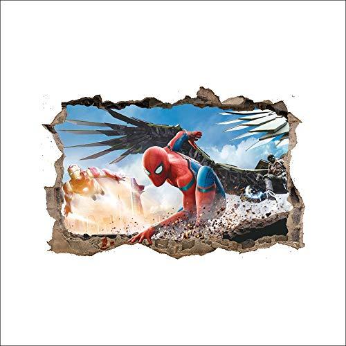 JUNMAONO 3D Spiderman Wandaufkleber/Wandgemälde/Wand Poster/Wandbild Aufkleber/Wandbilder/Wandtattoo/Tapete/Tapezieren/Tapeten/Wand Zeitung/Instant ()