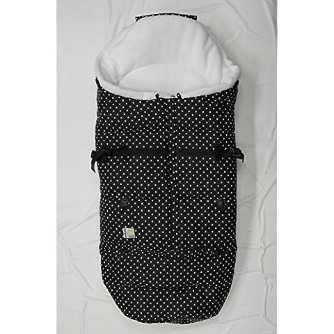 Kutnik Saco de abrigo universal polar para silla de paseo - Negro Puntea & Blanco