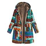Lang Mantel Slim Fit Damen Winter Warm Outwear Farbdruck Mit Kapuze Taschen Übergroße Haspe Mäntel blau XL